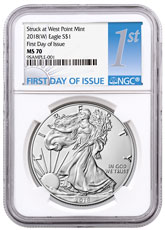 2018-(W) American Silver Eagle Struck at West Point NGC MS70 FDI