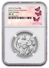 2018-D Breast Cancer Awareness Commemorative Clad Half Dollar Coin NGC MS70 ER Breast Cancer Label
