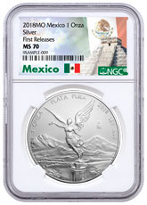 2018-Mo Mexico 1 oz Silver Libertad Coin NGC MS70 FR Exclusive Mexico Label