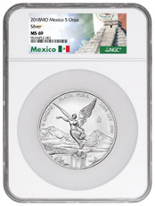 2018-Mo Mexico 5 oz Silver Libertad Coin NGC MS69 Exclusive Mexico Label