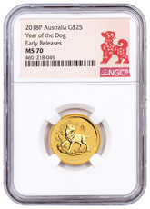 2018-P Australia Year of the Dog 1/4 oz Gold Lunar (Series 2) $25 Coin NGC MS70 ER Year of the Dog Label