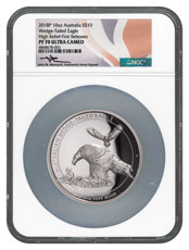2018-P Australia 10 oz High Relief Silver Wedge-Tailed Eagle Proof $10 Coin Scarce and Unique Coin Division NGC PF70 UC FR Mercanti Signed Australia Flag Label