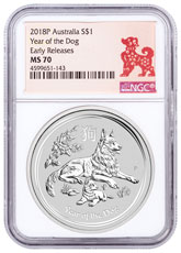 2018-P Australia Year of the Dog 1 oz Silver Lunar (Series 2) $1 Coin NGC MS70 ER Year of the Dog Label