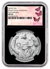 2018-P Breast Cancer Awareness Commemorative Silver Dollar Coin NGC MS69 ER Black Core Holder Breast Cancer Label