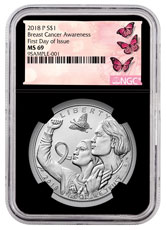 2018-P Breast Cancer Awareness Commemorative Silver Dollar Coin NGC MS69 FDI Black Core Holder Breast Cancer Label