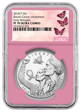 2018-P Breast Cancer Awareness Commemorative Silver Dollar Proof Coin NGC PF70 ER Pink Core Holder Breast Cancer Label