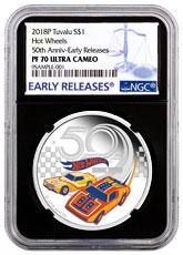 2018-P Tuvalu Hot Wheels 50th Anniversary 1 oz Silver Colorized Proof $1 Coin NGC PF70 UC ER Black Core Holder