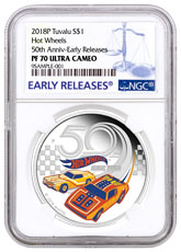 2018-P Tuvalu Hot Wheels 50th Anniversary 1 oz Silver Colorized Proof $1 Coin NGC PF70 UC ER