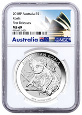 2018-P Australia 1 oz Silver Koala $1 Coin NGC MS69 FR Exclusive Australia Label