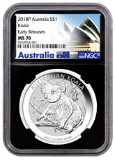 2018-P Australia 1 oz Silver Koala $1 Coin NGC MS70 ER Black Core Holder Exclusive Australia Label