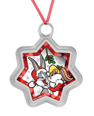 2018-P Tuvalu Looney Tunes Christmas Star Shaped 1 oz Silver Colorized Proof $1 Coin GEM Proof