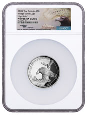 2018-P Australia 5 oz High Relief Silver Wedge-Tailed Eagle Proof $8 Coin NGC PF69 UC Mercanti Signed Label