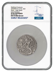 2018 British Indian Ocean Territory Mythical Creatures - The Siren Ultra High Relief 2 oz Silver Antiqued Proof £4 Coin NGC PF69 ER Early Releases Label