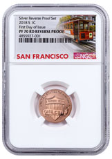 2018-S Copper-Plated Zinc Reverse Proof Lincoln Cent NGC PF70 Red FDI Trolley Label