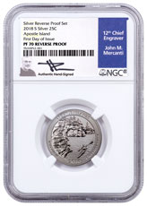 2018-S Silver Apostle Islands Reverse Proof America the Beautiful Quarter NGC PF70 FDI Mercanti Signed Blue Label