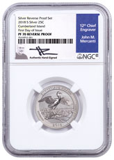 2018-S Silver Cumberland Island Reverse Proof America the Beautiful Quarter NGC PF70 FDI Mercanti Signed Blue Label