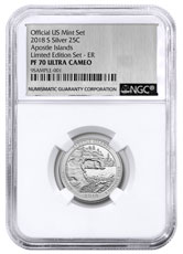 2018-S Silver Apostle Islands Proof America the Beautiful Quarter From Limited Edition Silver Proof Set NGC PF70 UC ER Silver Foil Label