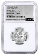 2018-S Silver Pictured Rocks Proof America the Beautiful Quarter From Limited Edition Silver Proof Set NGC PF70 UC FR Silver Foil Label