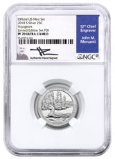 2018-S Silver Voyageurs National Park Proof America the Beautiful Quarter From Limited Edition Silver Proof Set NGC PF70 UC FDI Mercanti Signed Blue Label