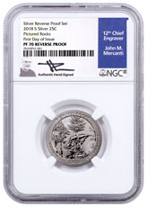 2018-S Silver Pictured Rocks Reverse Proof America the Beautiful Quarter NGC PF70 FDI Mercanti Signed Blue Label