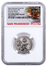 2018-S Silver Pictured Rocks Reverse Proof America the Beautiful Quarter NGC PF70 FDI San Francisco Cable Car Label