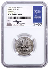2018-S Silver Voyageurs National Park Reverse Proof America the Beautiful Quarter NGC PF70 FDI Mercanti Signed Blue Label