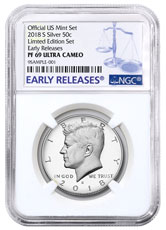 2018-S Silver Proof Kennedy Half Dollar From Limited Edition Silver Proof Set NGC PF69 UC ER
