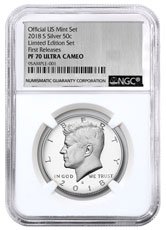 2018-S Silver Proof Kennedy Half Dollar From Limited Edition Silver Proof Set NGC PF70 UC FR Silver Foil Label