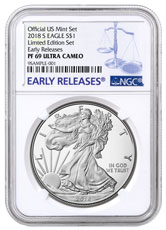 2018-S Proof American Silver Eagle From Limited Edition Silver Proof Set NGC PF69 UC ER