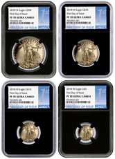2018-W Proof Gold American Eagle 4-Coin Proof Set NGC PF70 UC FDI Black Core Holder First Day of Issue Label