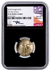 2018 1/4 oz Gold American Eagle $10 NGC PF69 UC FDI Black Core Holder Exclusive Mercanti Signed Label