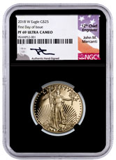 2018-W 1/2 oz Gold American Eagle Proof $25 NGC PF69 UC FDI Black Core Holder Mercanti Signed Label