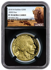 2018-W 1 oz Gold Buffalo Proof $50 Coin NGC PF70 UC Black Core Holder Buffalo Label