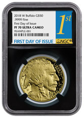 2018-W 1 oz Gold Buffalo Proof $50 Coin NGC PF70 UC FDI Black Core Holder