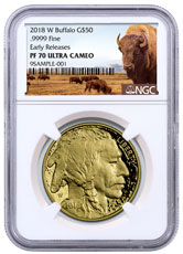 2018-W 1 oz Gold Buffalo Proof $50 Coin NGC PF70 UC ER Buffalo Label