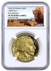 2018-W 1 oz Gold Buffalo Proof $50 Coin NGC PF70 UC FR Buffalo Label