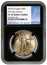 2018-W 1 oz Gold American Eagle Proof $50 NGC PF70 UC FDI Black Core Holder First Day of Issue Label