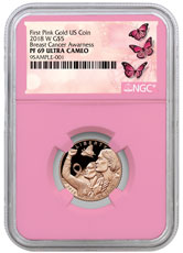 2018-W Breast Cancer Awareness Commemorative Pink Gold $5 Proof Coin NGC PF69 UC Pink Core Holder Breast Cancer Label