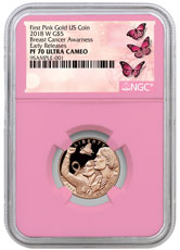 2018-W Breast Cancer Awareness Commemorative Pink Gold $5 Proof Coin NGC PF70 ER Pink Core Holder Breast Cancer Label
