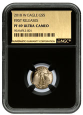 2018-W 1/10 oz Gold American Eagle Proof $5 NGC PF69 UC FR Black Core Holder Exclusive Gold Foil Label