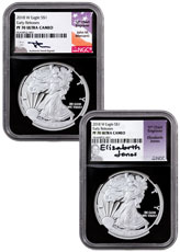 2-Coin Set - 2018-W Proof American Silver Eagle NGC PF70 UC ER Black Core Holder Mercanti & Jones Signed Labels