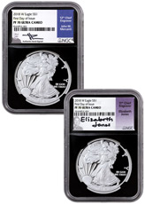 2-Coin Set - 2018-S Proof American Silver Eagle NGC PF70 UC FDI Black Core Holder Mercanti + Jones Signed Labels