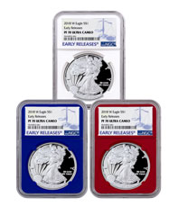 3-Coin Set - 2018-W Proof American Silver Eagle NGC PF70 UC ER Red + White +Blue Core Holders