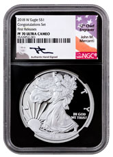 2018-W Proof American Silver Eagle Congratulations Set NGC PF70 UC FR Black Core Holder Mercanti Signed Label