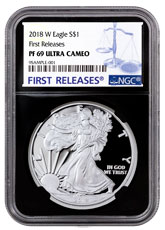 2018-W Proof American Silver Eagle NGC PF69 UC FR Black Core Holder
