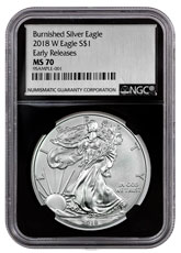 2018-W Burnished American Silver Eagle NGC MS70 ER Black Core Holder Exclusive Silver Foil label