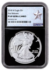 2018-W Proof American Silver Eagle NGC PF69 UC FR Black Core Holder West Point Silver Star Label
