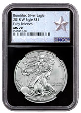 2018-W Burnished American Silver Eagle NGC MS70 ER Black Core Holder West Point Silver Star Label