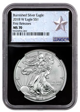 2018-W Burnished American Silver Eagle NGC MS70 FR Black Core Holder West Point Silver Star Label