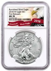 2018-W Burnished American Silver Eagle NGC MS70 FR Exclusive Eagle Label